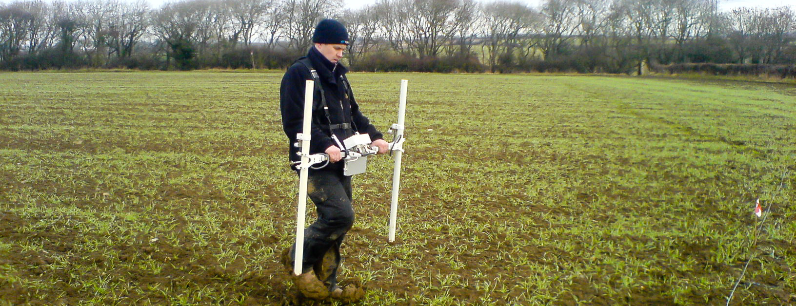 Magnetic gradiometer survey targeting archaeology