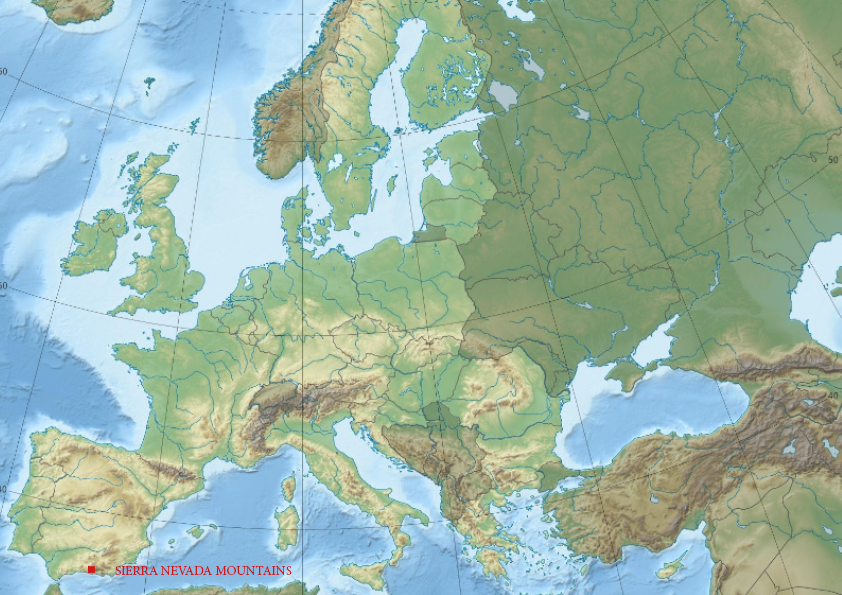 Relief map of Europe showing high mountains affected by climate change.