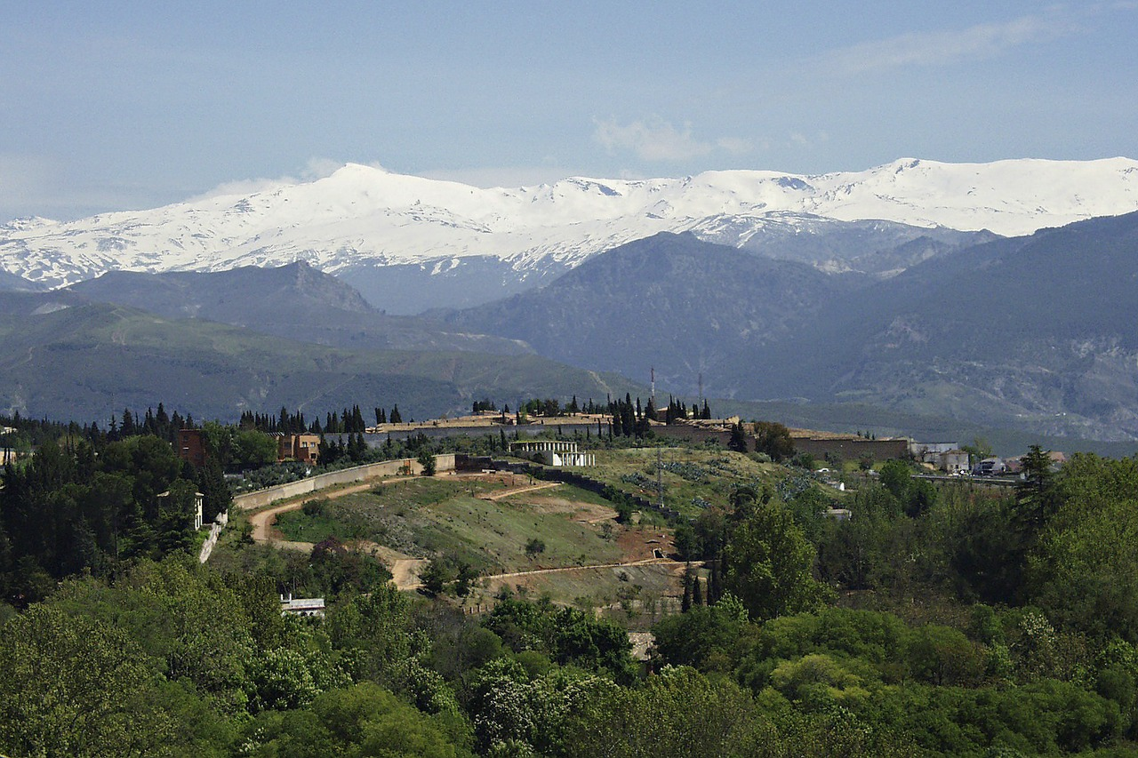 snow-capped mountains in the Sierra Nevada range affected by climate change